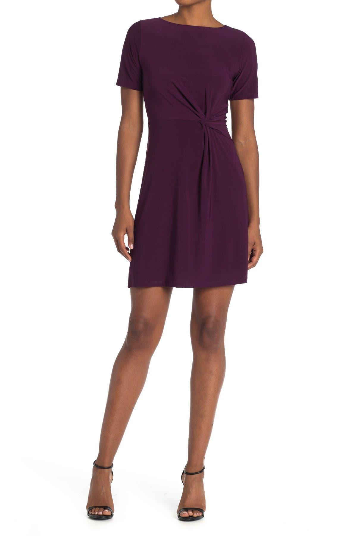 Image of TASH + SOPHIE Short Sleeve Side Twist Dress