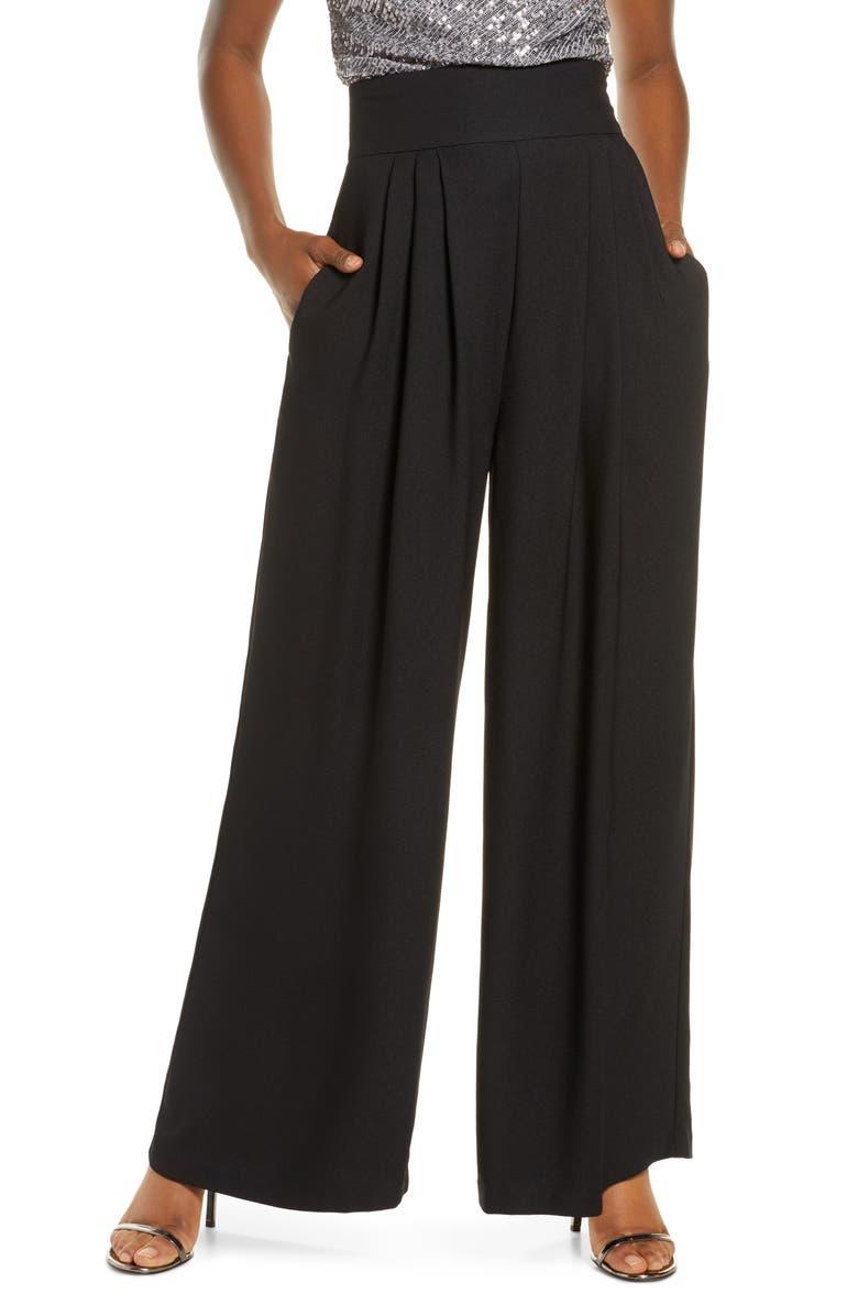 ELIZA J High Waist Wide Leg Crepe Pants, Main, color, 001
