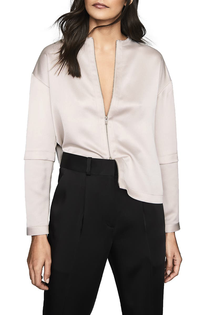 REISS Lulu Zip Blouse, Main, color, OYSTER