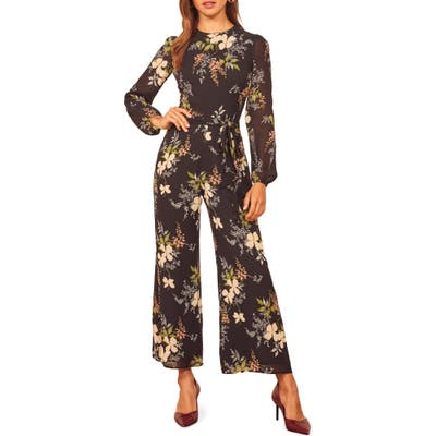 Reformation Franny Floral Long Sleeve Jumpsuit, Black
