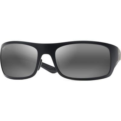 Maui Jim Big Wave 67mm Polarized Wraparound Sunglasses - Matte Black