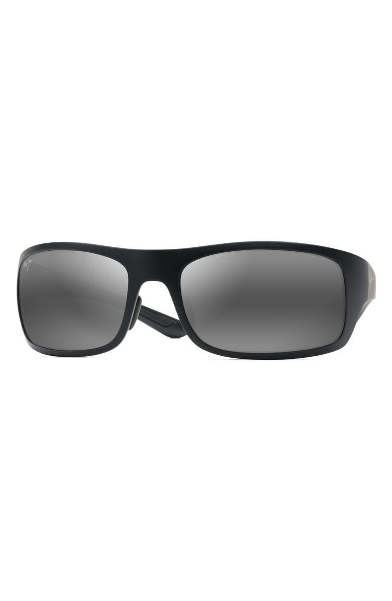 MAUI JIM Big Wave 67mm Polarized Wraparound Sunglasses, Main, color, MATTE BLACK