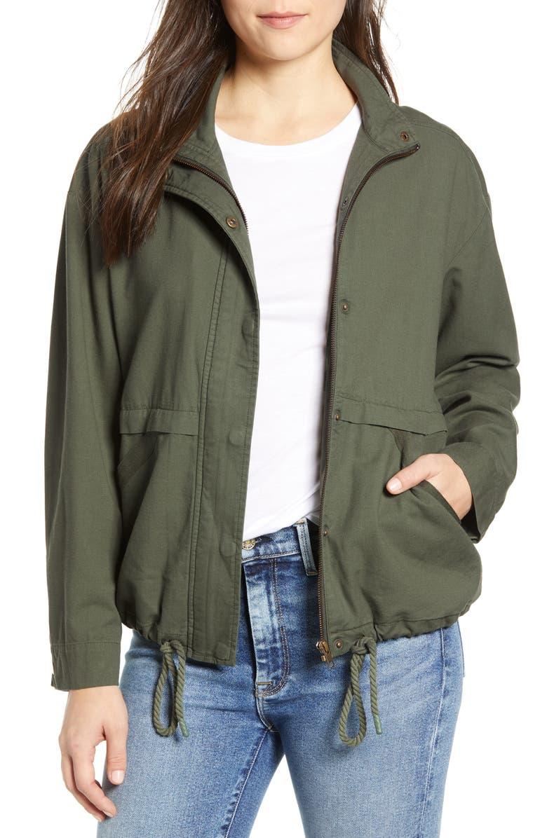 CASLON<SUP>®</SUP> Utility Jacket, Main, color, GREEN BEETLE