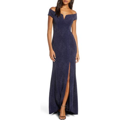 Vince Camuto Off The Shoulder Metallic Gown, Blue