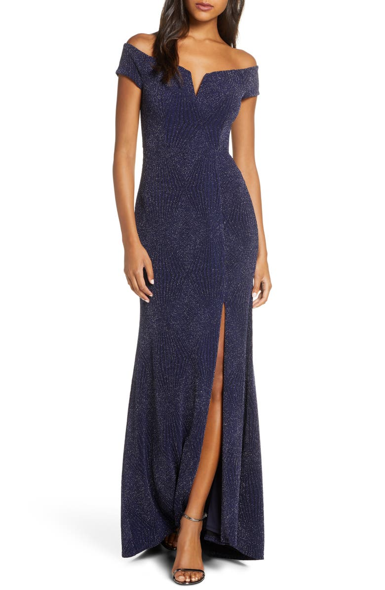 VINCE CAMUTO Off the Shoulder Metallic Gown, Main, color, NAVY
