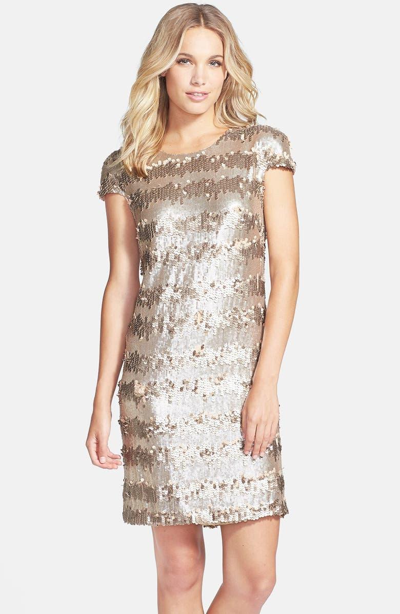 VERA WANG Gold Paillette & Sequin Shift Dress, Main, color, 710