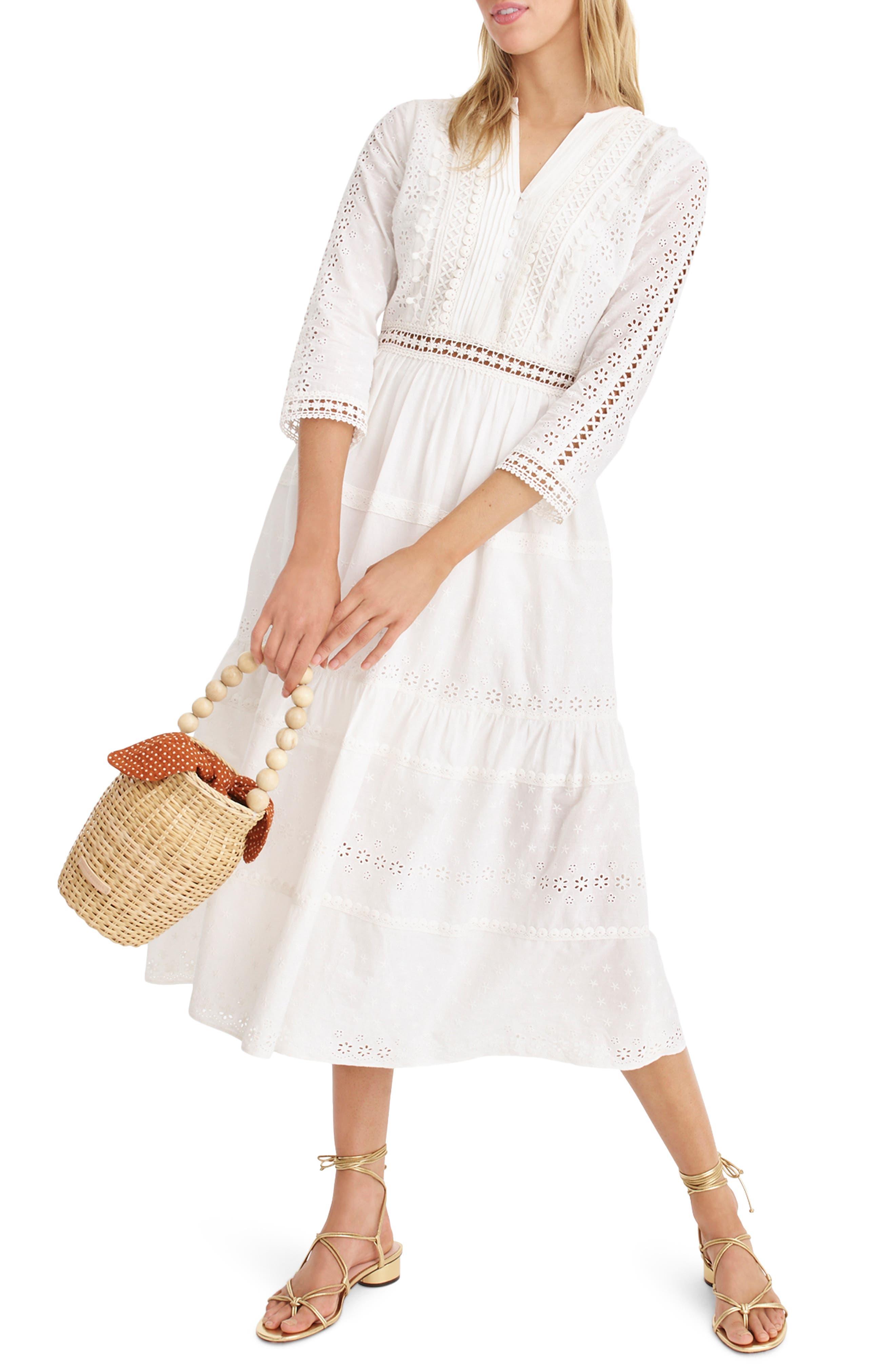 J.crew Tiered Eyelet Prairie Dress, White