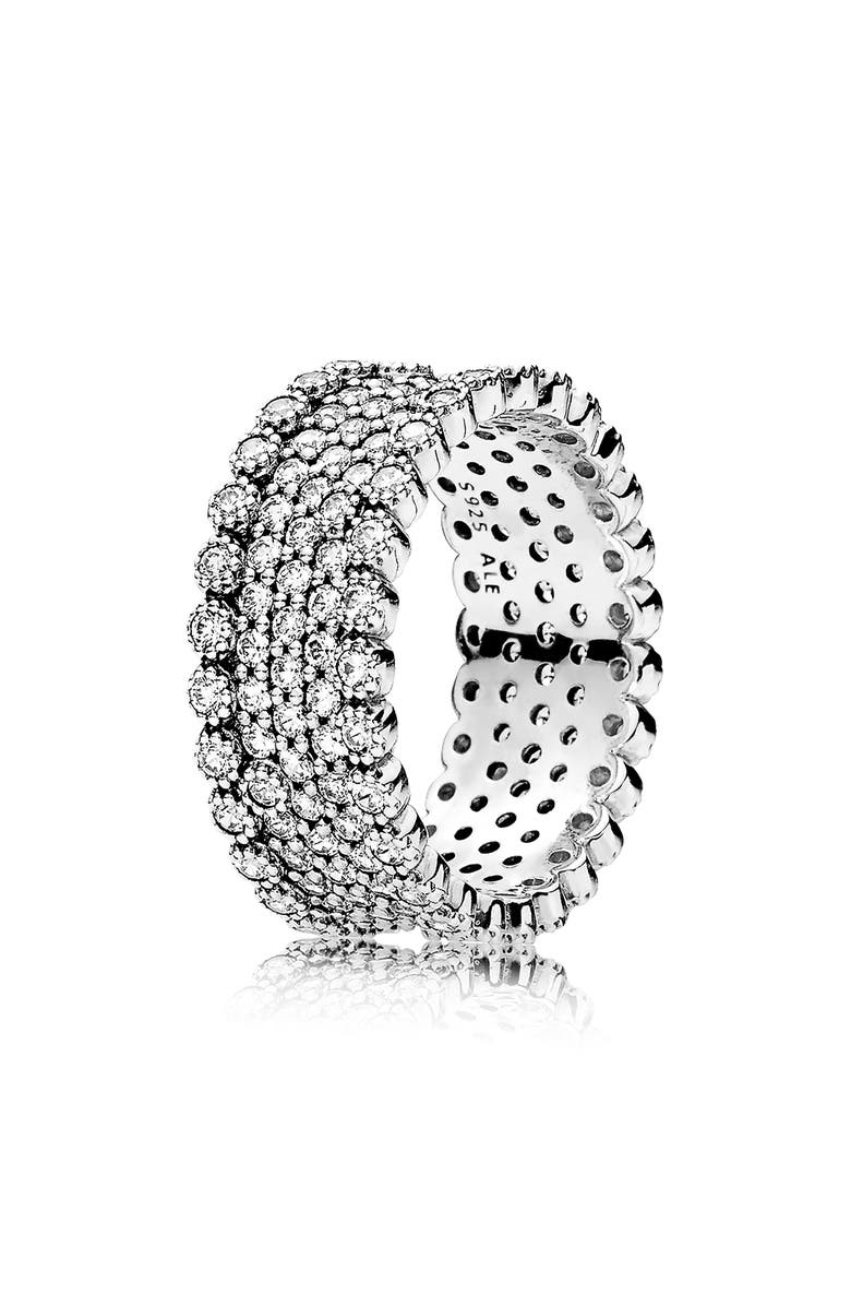 PANDORA Lavish Sparkle Band Ring, Main, color, SILVER
