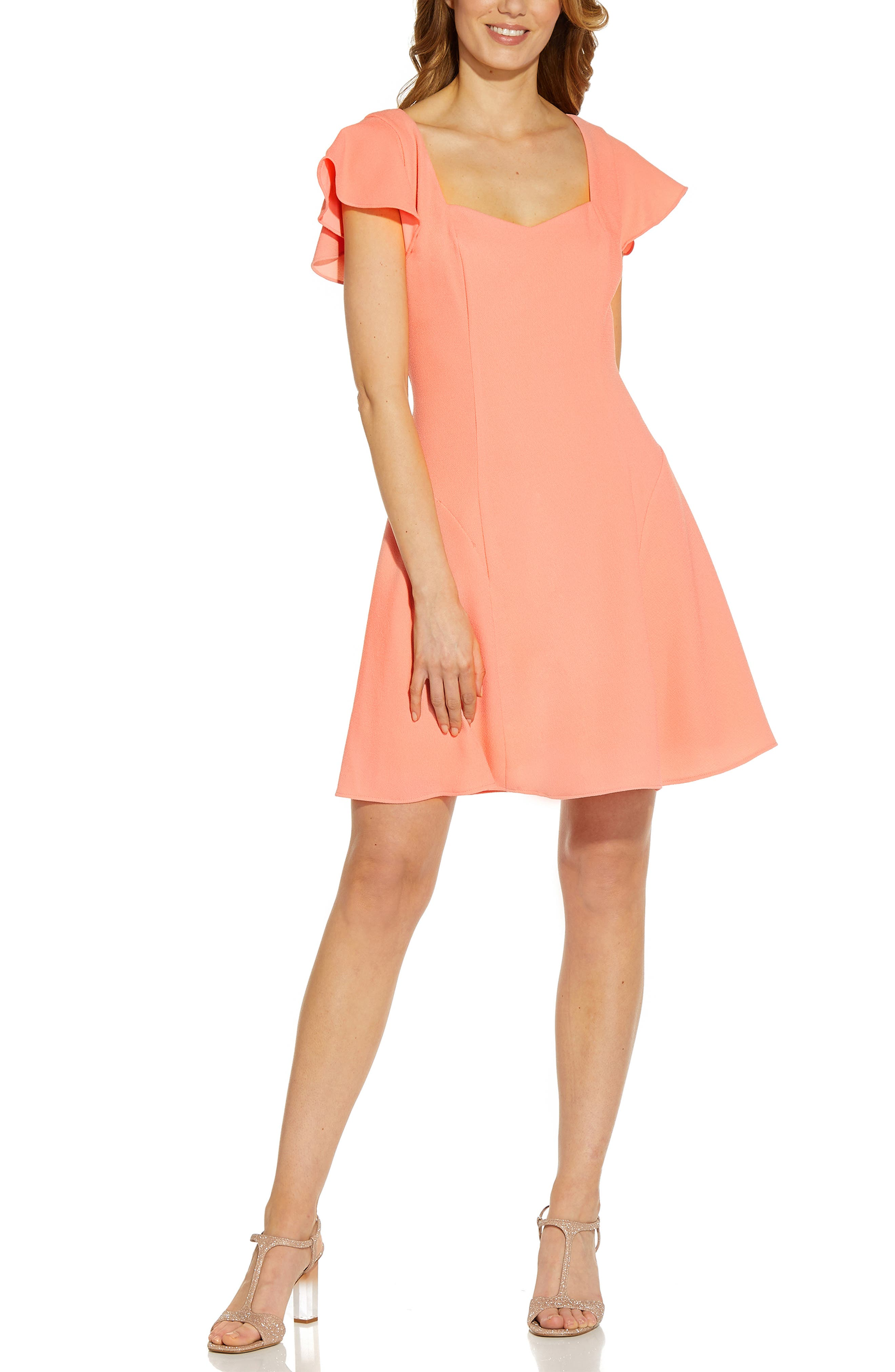 Sweetheart Neck Crepe Fit & Flare Dress