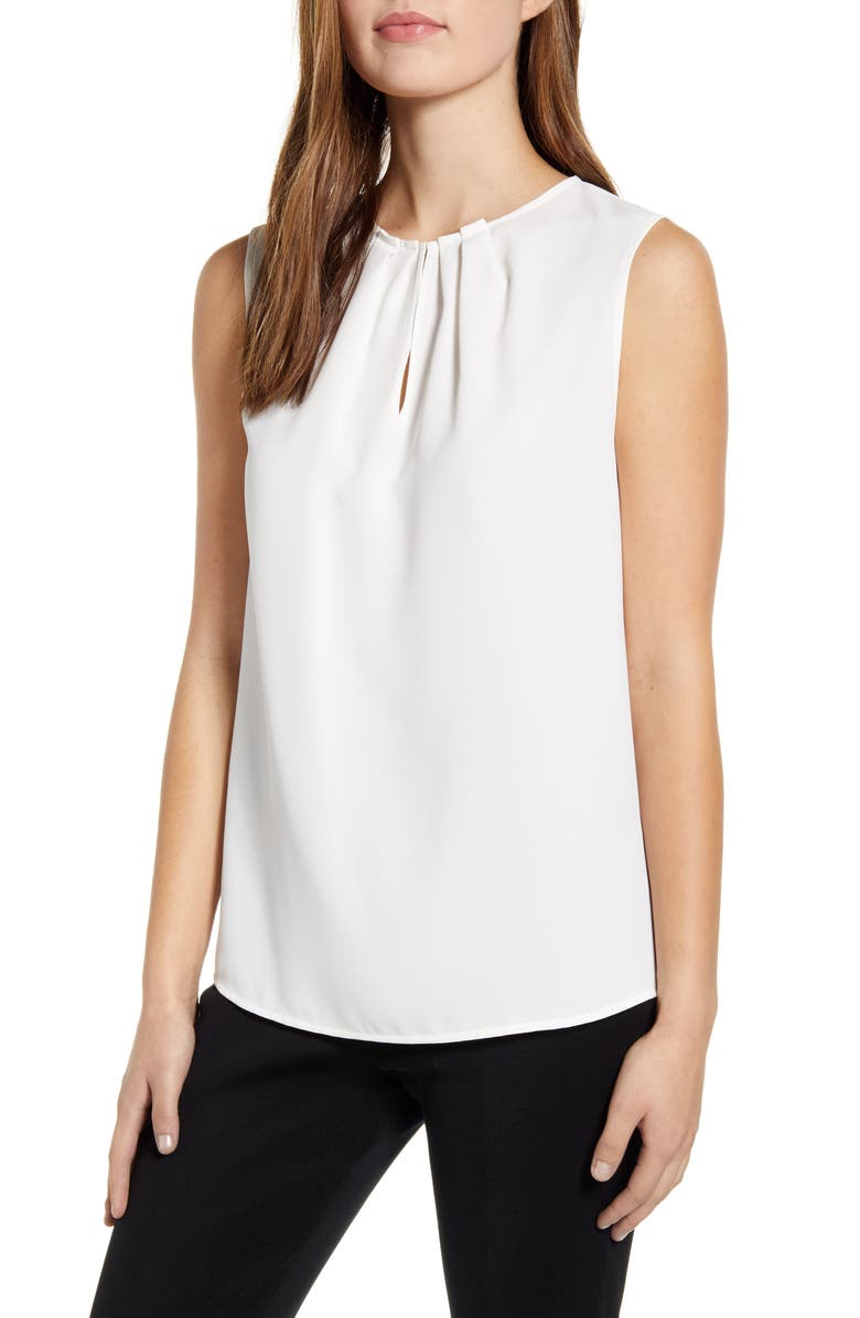 MING WANG Pleated Neck Crepe Tank, Main, color, WHITE