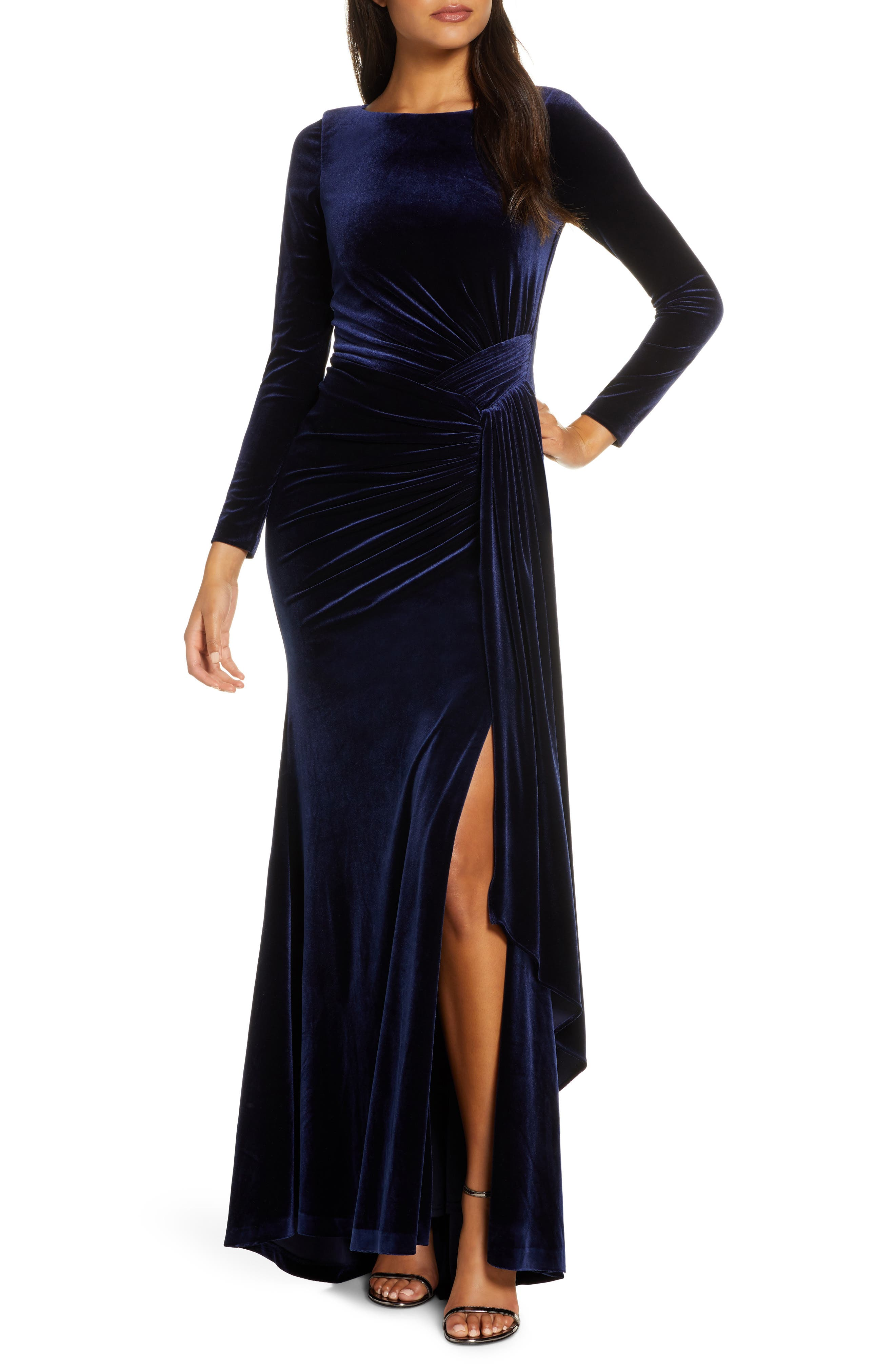 1940s Evening, Prom, Party, Formal, Ball Gowns Womens Vince Camuto Long Sleeve Velvet Gown Size 16 - Blue $228.00 AT vintagedancer.com