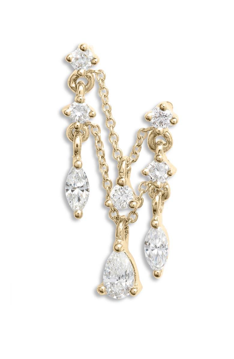 MARIA TASH Multi Diamond Chain Orbital Earring, Main, color, YELLOW GOLD/ DIAMOND