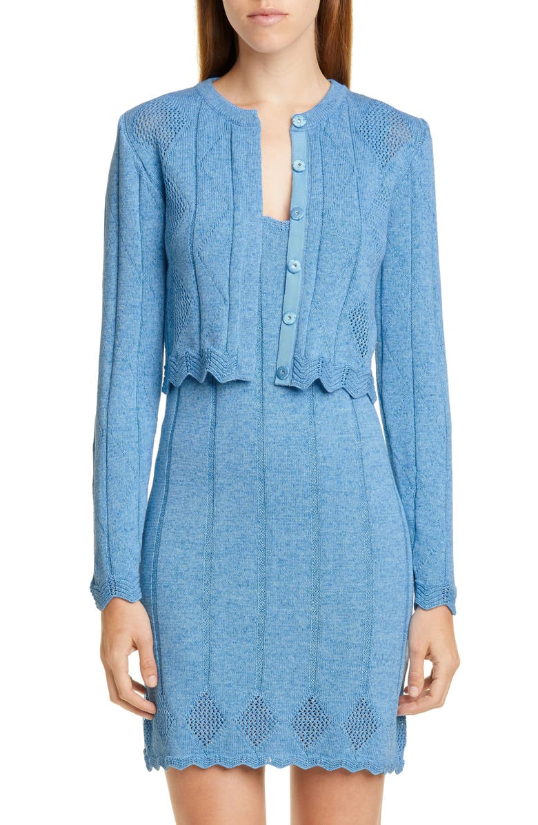 VICTOR GLEMAUD Crop Cotton Cardigan, Main, color, MARINE BLUE