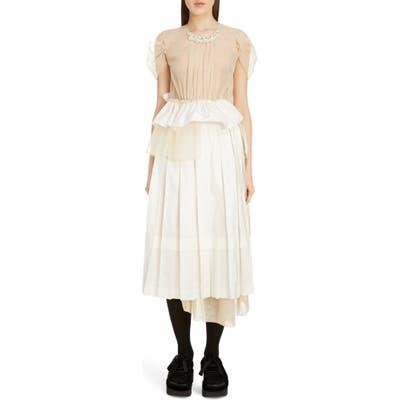 Simone Rocha Deconstructed Pleated Taffeta Midi Dress, US / 8 UK - Ivory
