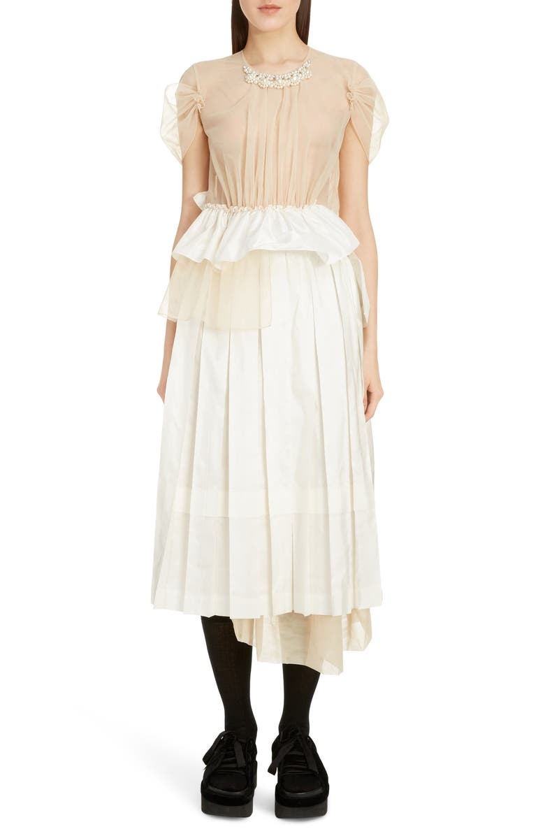 SIMONE ROCHA Deconstructed Pleated Taffeta Midi Dress, Main, color, IVORY NUDE PEARL