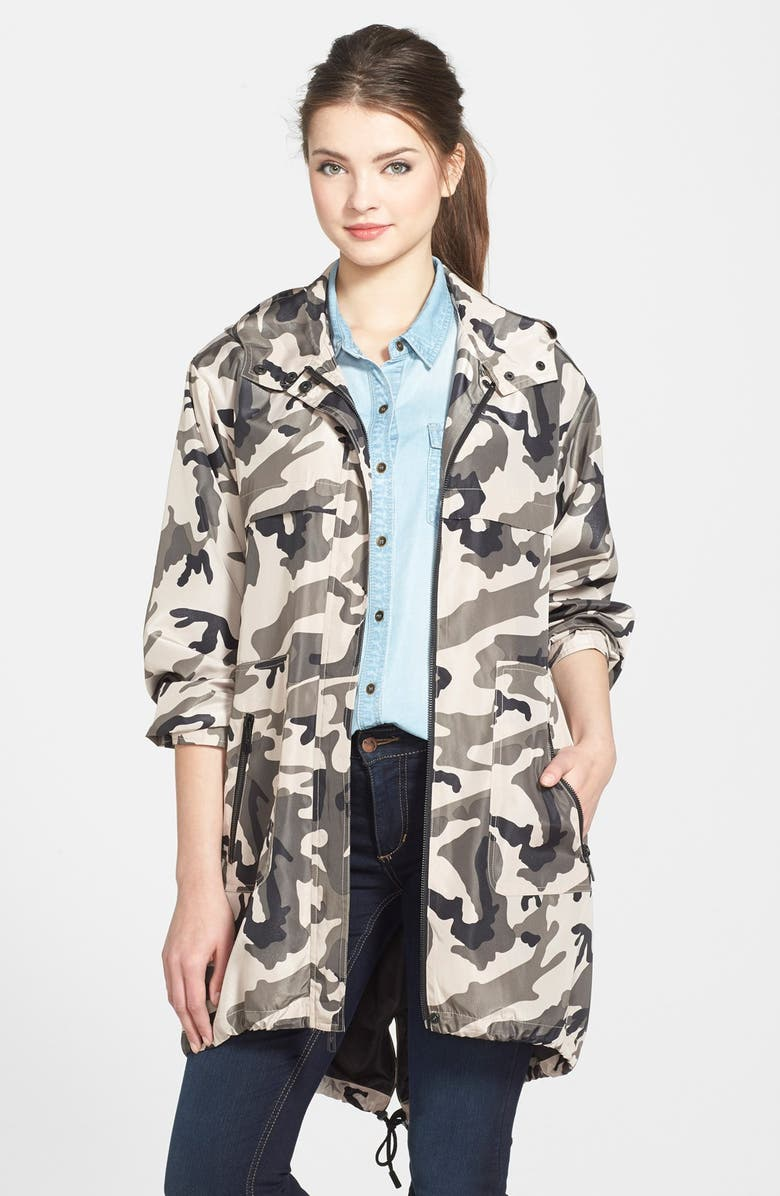 KENNETH COLE NEW YORK Hooded Camo Print Anorak, Main, color, 300