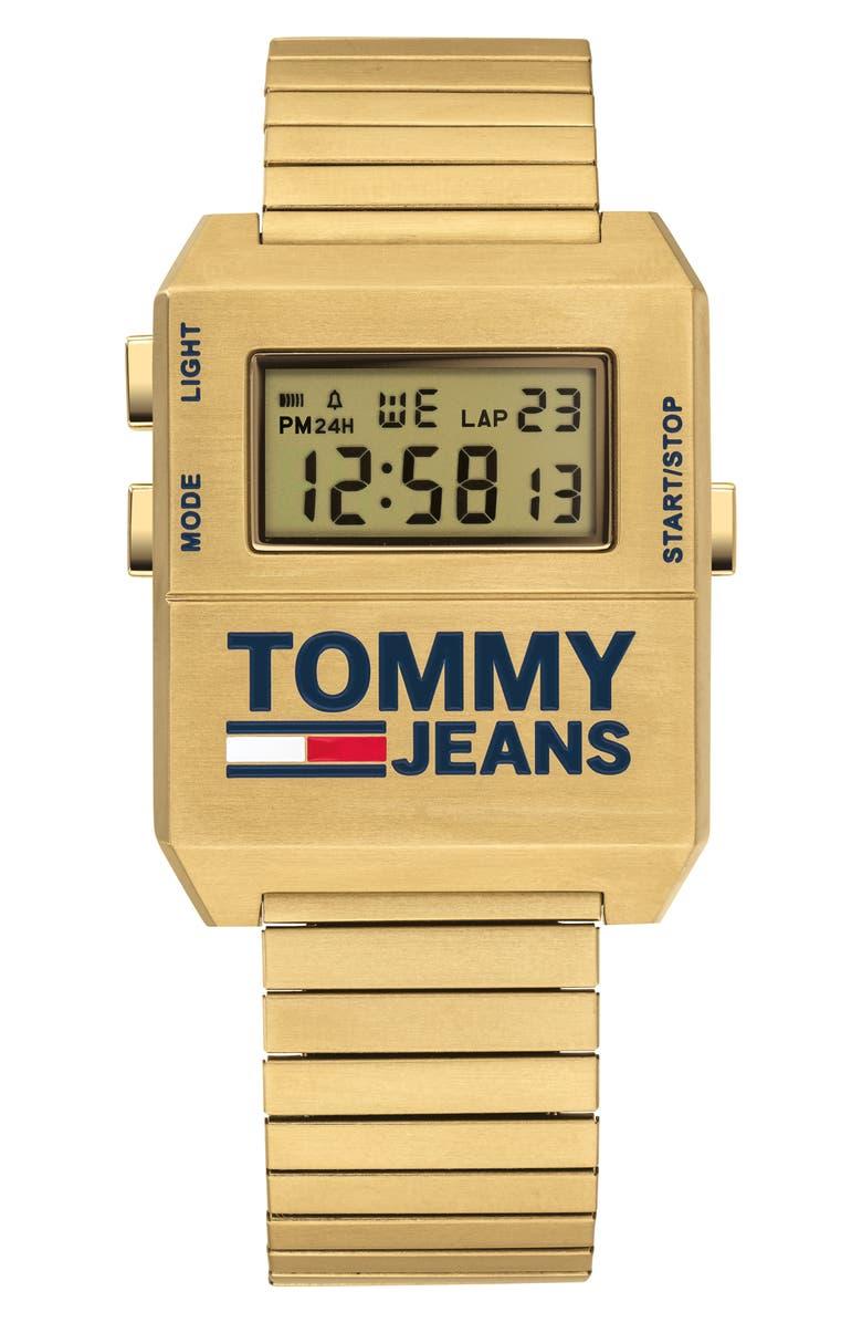 TOMMY JEANS Digital Bracelet Watch, 32.5mm x 42mm, Main, color, GOLD