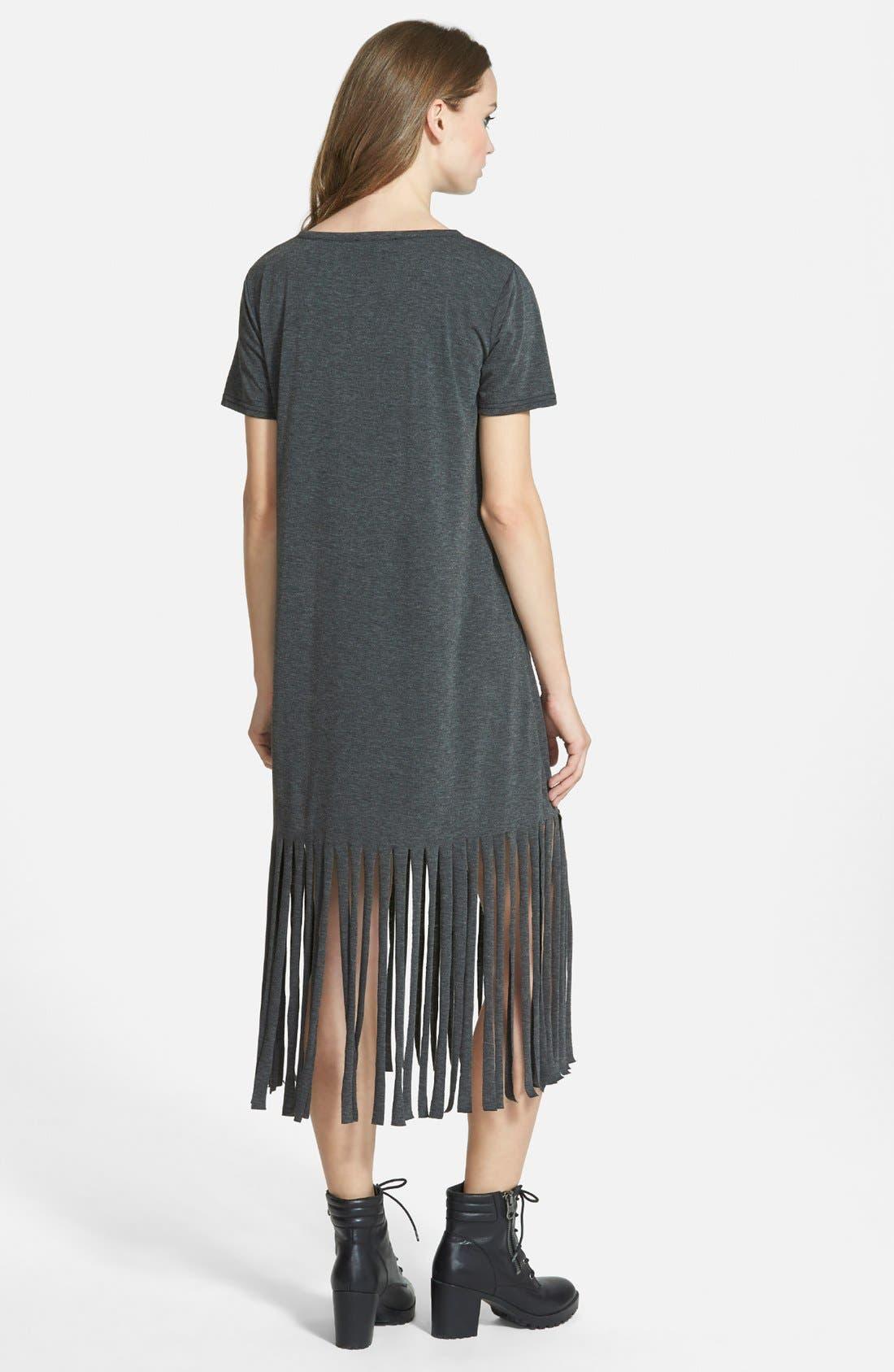 ,                             Fringe T-Shirt Dress,                             Alternate thumbnail 4, color,                             021