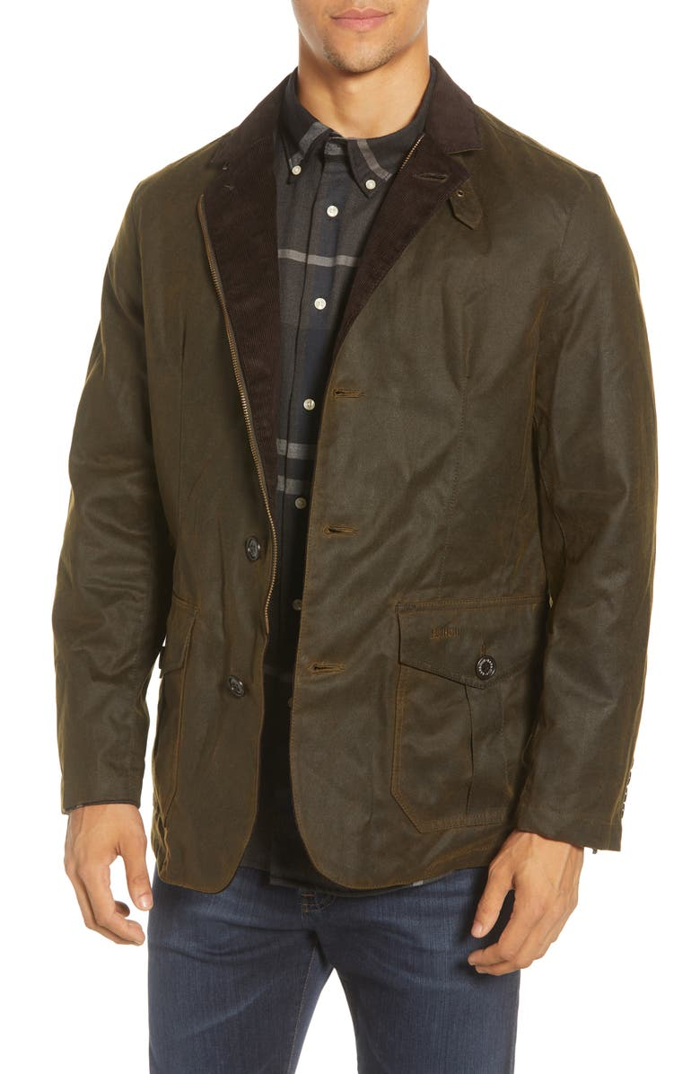 BARBOUR Lutz Water Resistant Waxed Cotton Jacket, Main, color, OLIVE