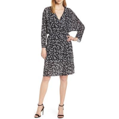 Caara Air Floral Long Sleeve Faux Wrap Dress, Black