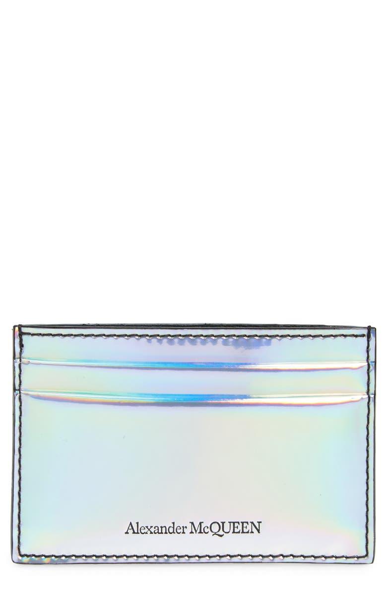ALEXANDER MCQUEEN Holographic Card Case, Main, color, SILVER