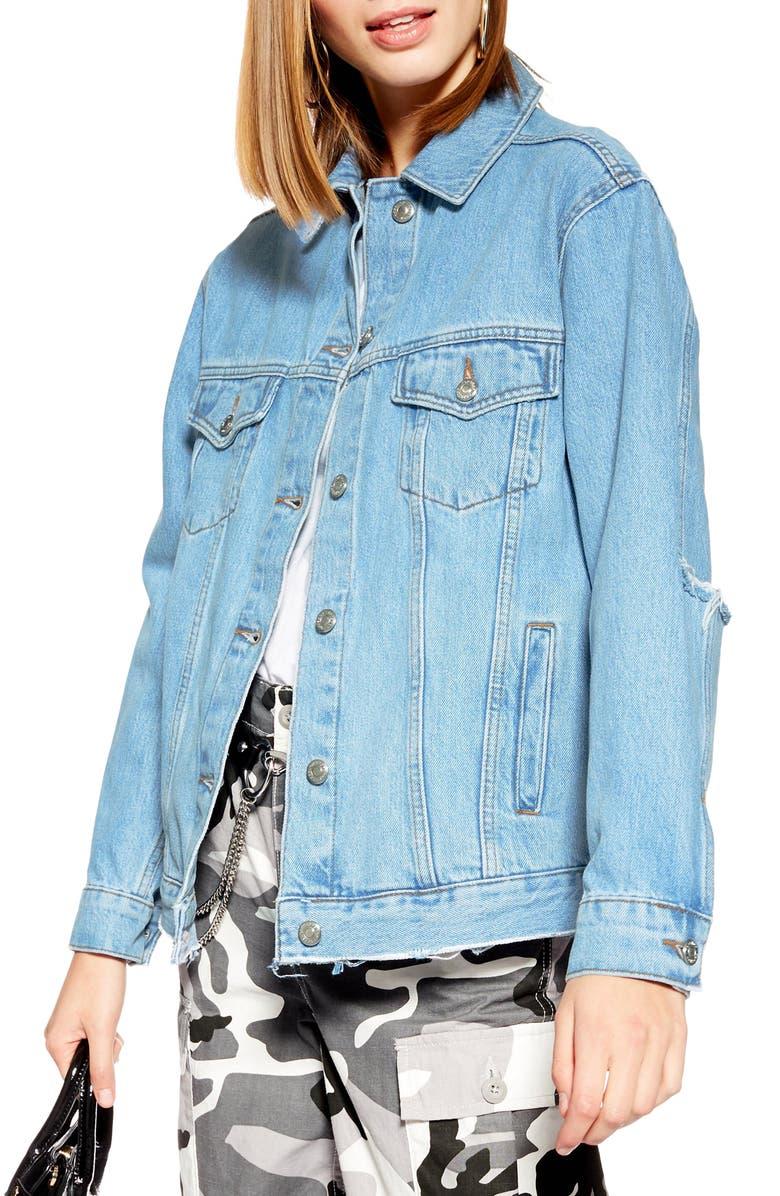 TOPSHOP Rip Elbow Denim Jacket, Main, color, MID DENIM