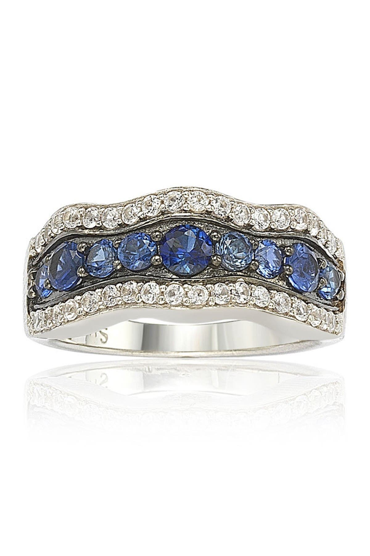 Suzy Levian Sterling Silver Blue Sapphire, Created White Sapphire & Brown Diamond Wave Ring at Nordstrom Rack