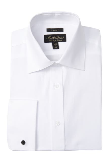 Image of Michelson's Textured Solid Slim Fit Tuxedo Dress Shirt