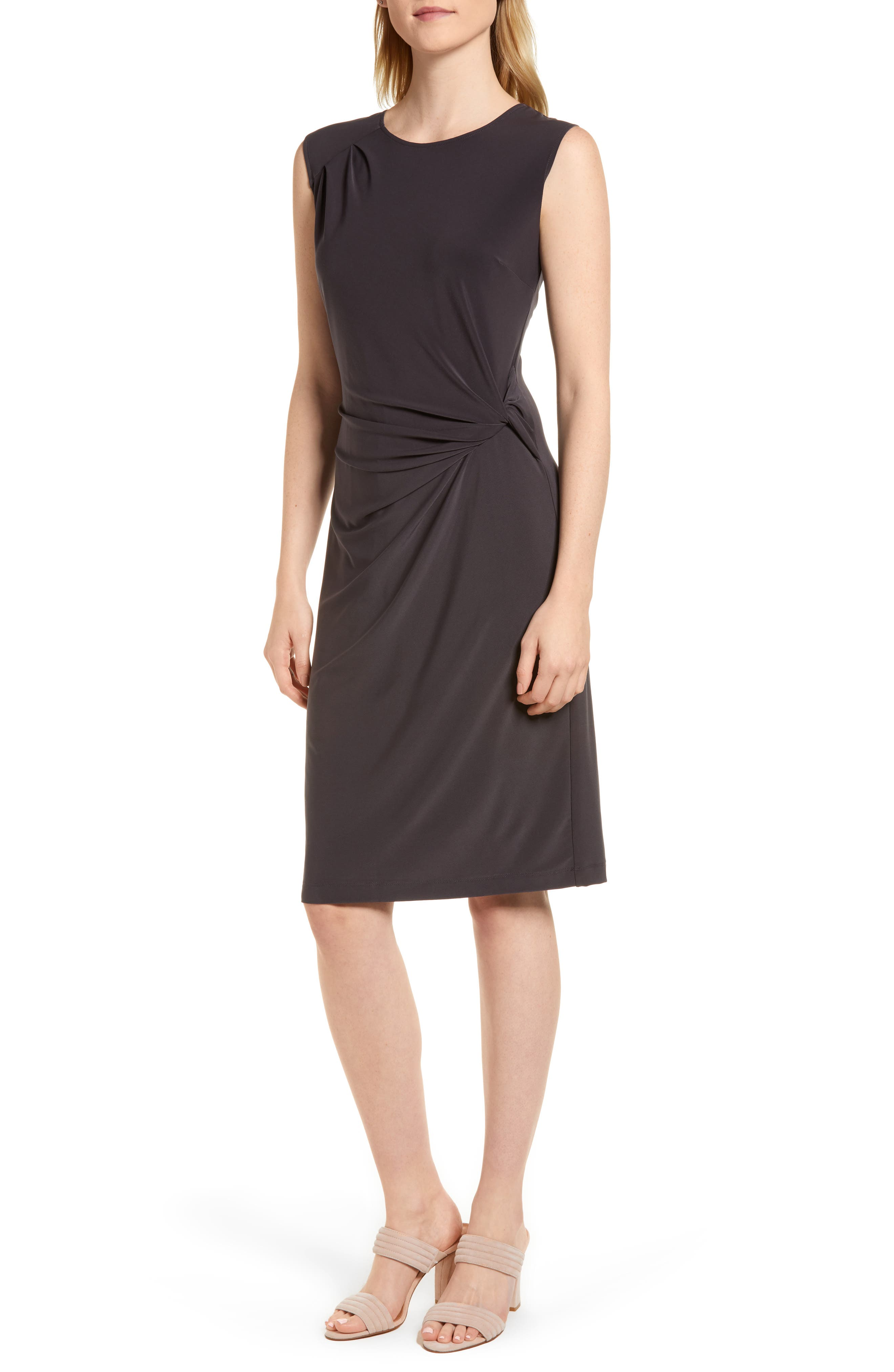 Nic+Zoe Twist Side Matte Jersey Dress, Grey