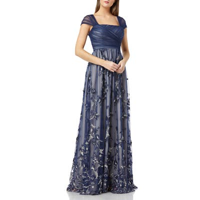 Carmen Marc Valvo Infusion Embroidered Tulle Gown, Blue
