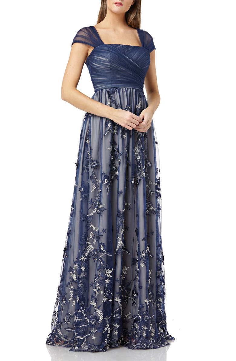 CARMEN MARC VALVO INFUSION Embroidered Tulle Gown, Main, color, 410