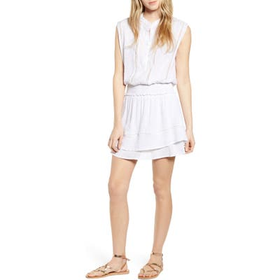 Rails Angelina Smocked Waist Minidress, White