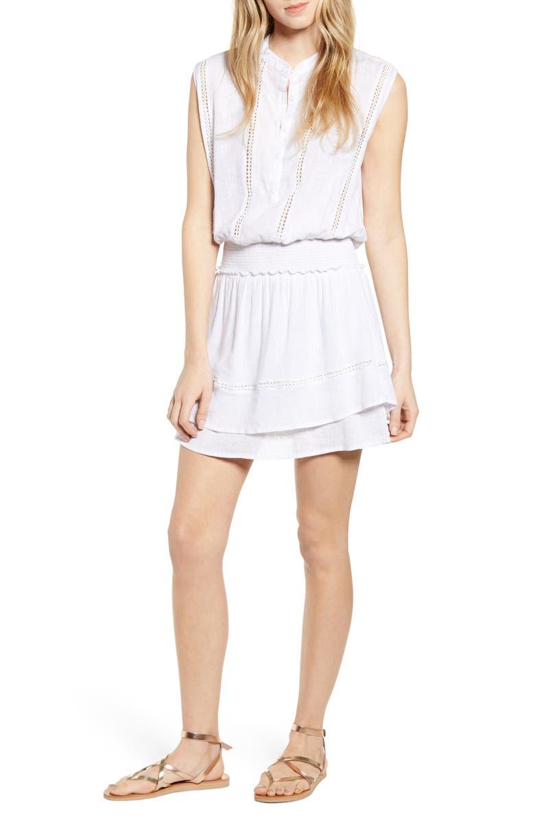 RAILS Angelina Smocked Waist Minidress, Main, color, WHITE LACE DETAIL