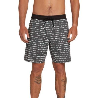 Volcom Stripe Dot Swim Trunks, Black