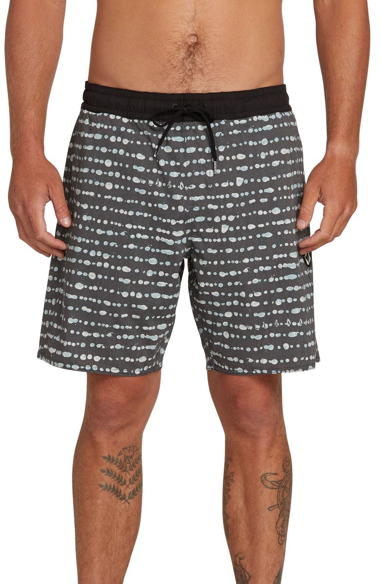 VOLCOM Stripe Dot Swim Trunks, Main, color, 001