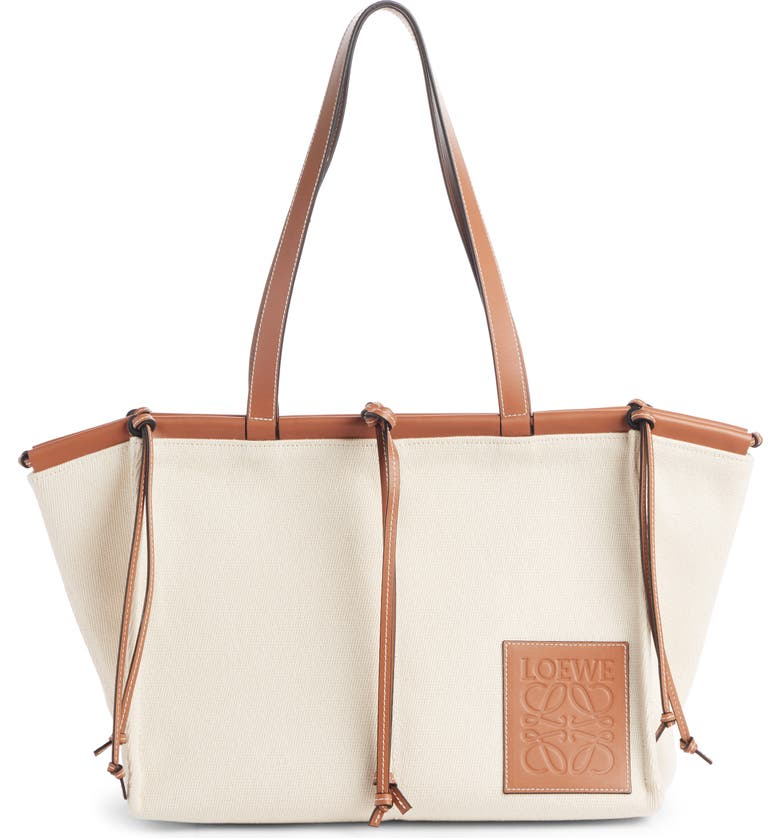 LOEWE Cushion Leather Convertible Gusset Tote, Main, color, LIGHT OAT