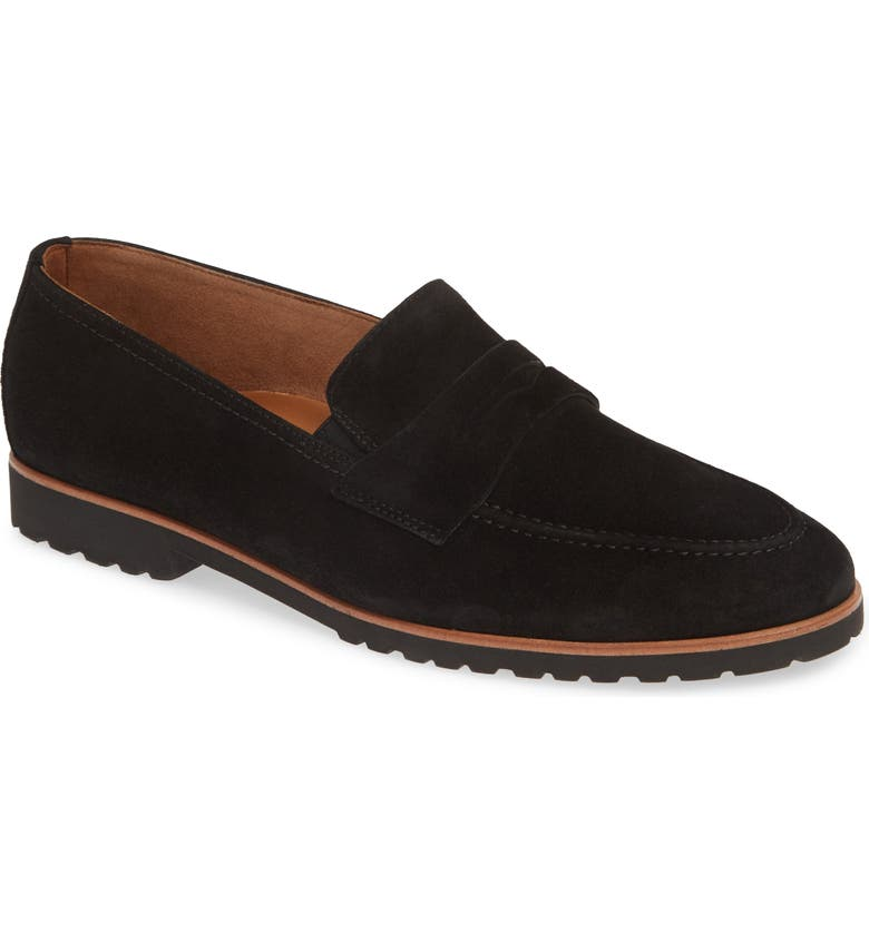 PAUL GREEN Becca Loafer, Main, color, BLACK SUEDE