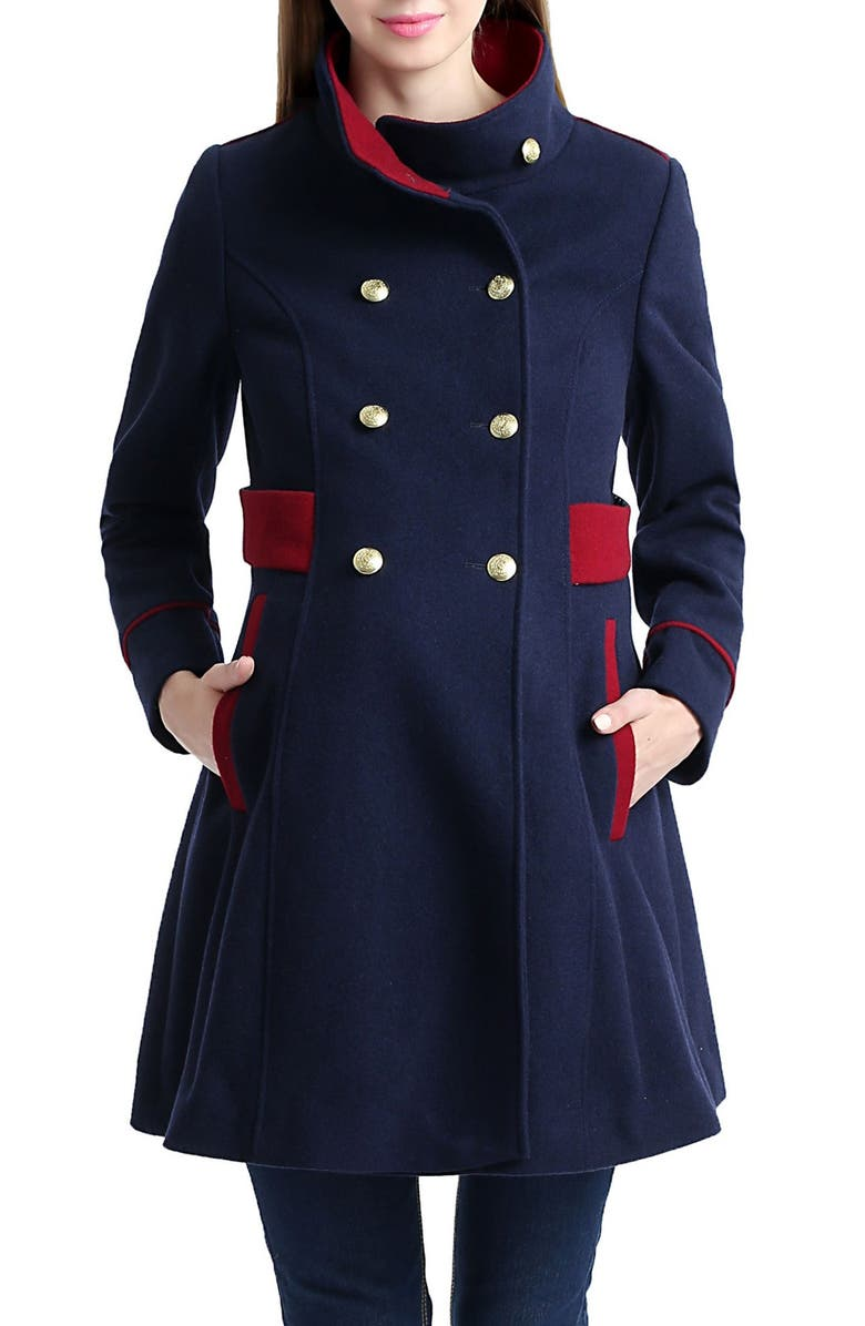 KIMI AND KAI Pan Military Wool Blend Maternity Peacoat, Main, color, 410