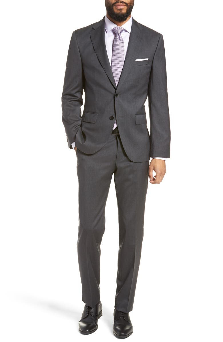 BOSS Johnstons/Lenon Regular Fit Solid Wool Suit, Main, color, CHARCOAL