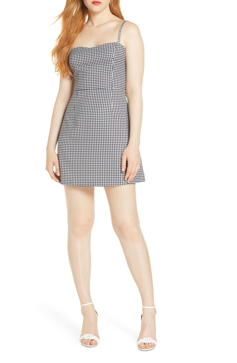 FRENCH CONNECTION Gingham Tie Back Sleeveless Minidress, Main, color, BLACK/ WHITE