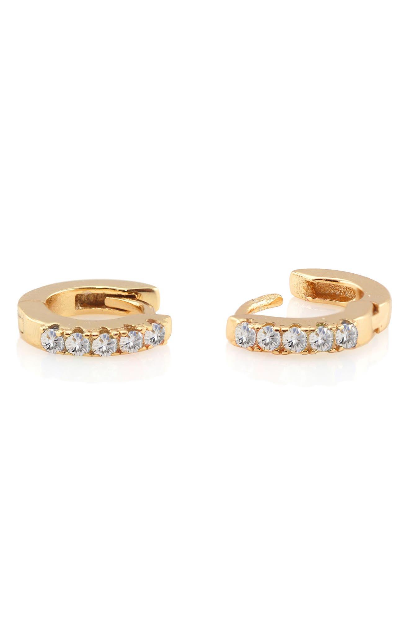 Kris Nations Pave Huggie Hoop Earrings in Gold/Clear Crystal at Nordstrom