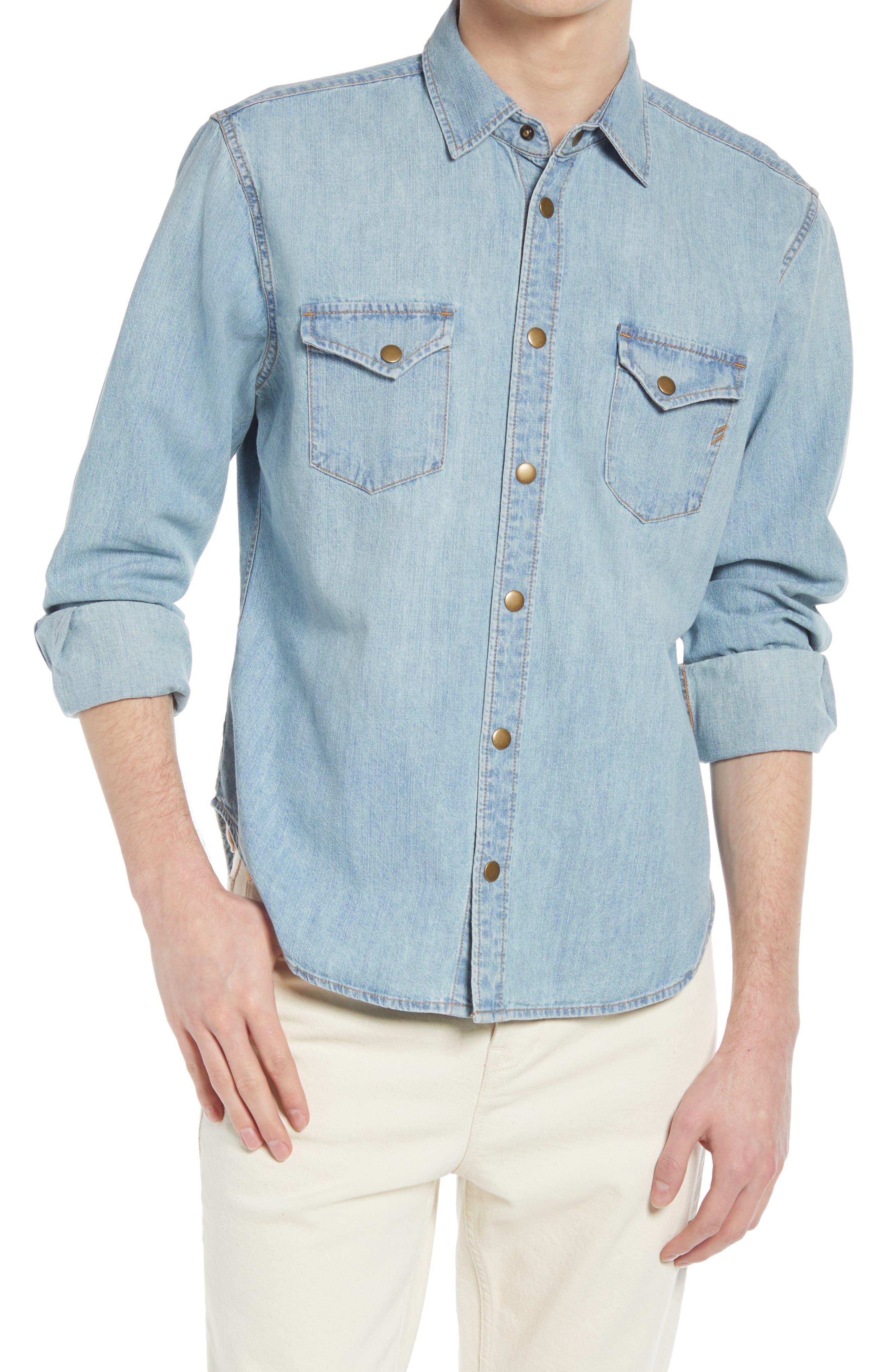 Distressed Denim Slim Fit Western Shirt