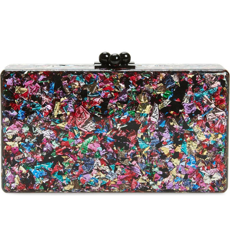EDIE PARKER Jean Confetti Box Clutch, Main, color, RAINBOW CONFETTI