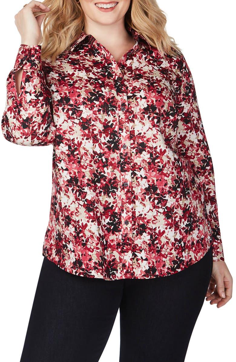 FOXCROFT Ava Vintage Floral Shirt, Main, color, MULTI