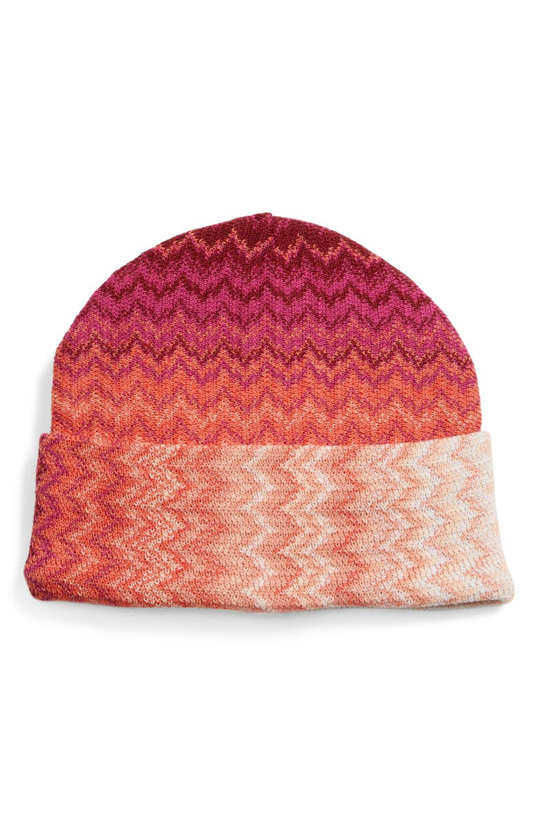 MISSONI Ombré Zigzag Wool Blend Beanie, Main, color, RED MULTI