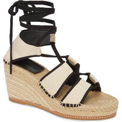 Tory Burch Ankle Tie Wedge Espadrille, Ivory