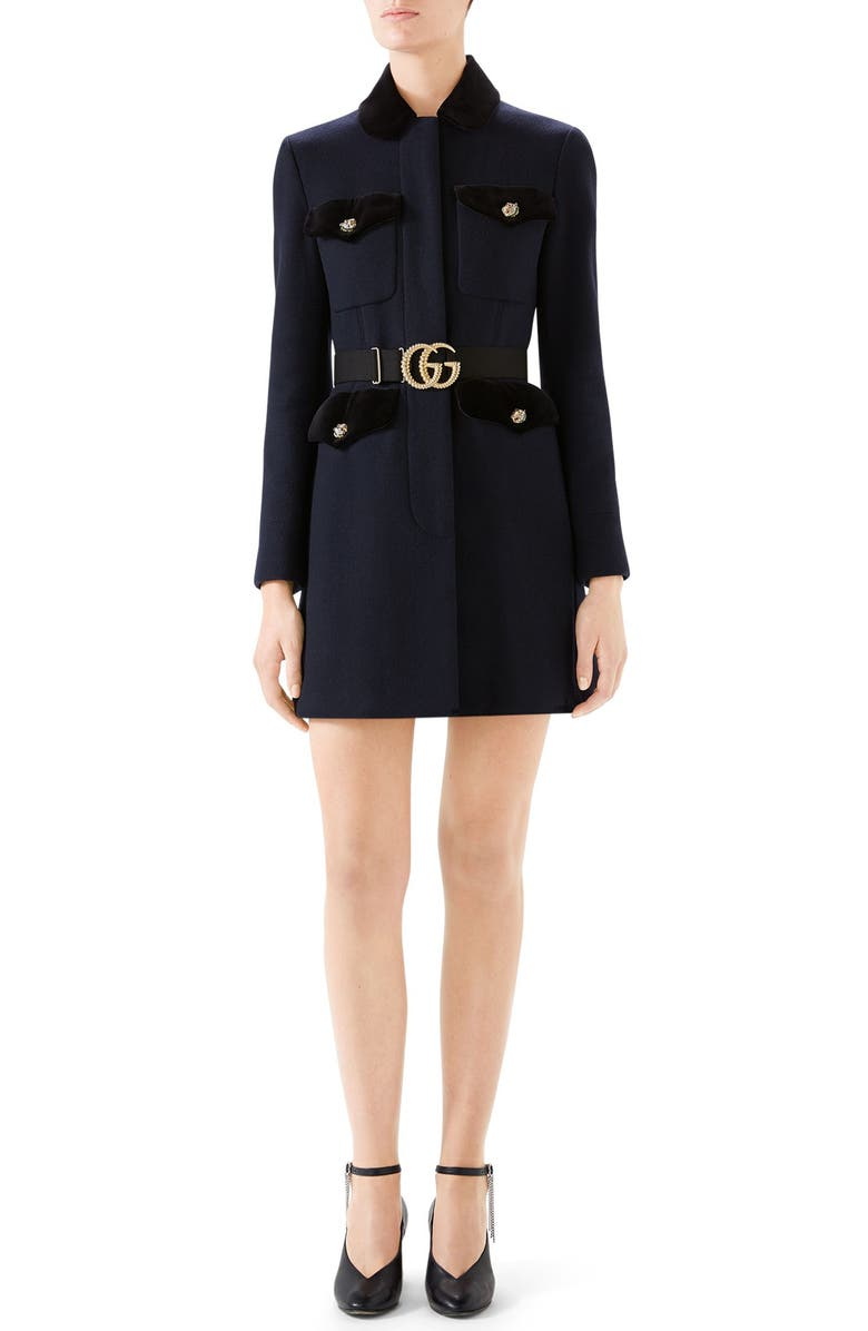 GUCCI GG Belt Velvet Trim Coat, Main, color, 464