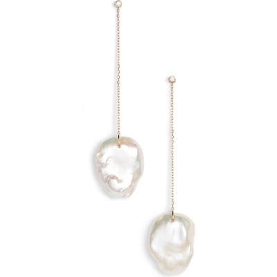 Mizuki Flat Pearl & Diamond Linear Drop Earrings