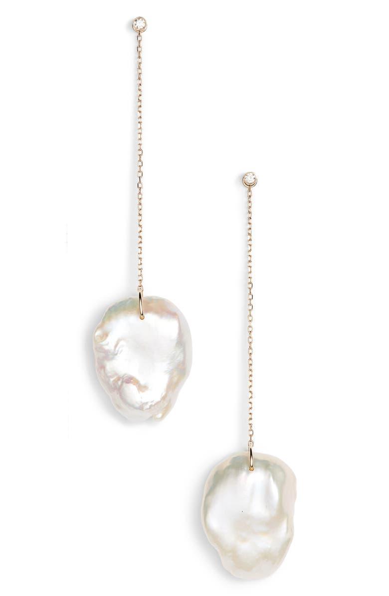 MIZUKI Flat Pearl & Diamond Linear Drop Earrings, Main, color, 710
