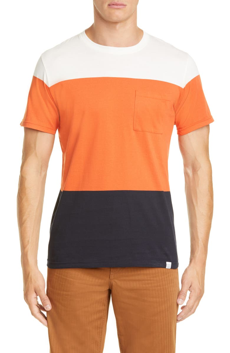 NORSE PROJECTS Neils Stripe T-Shirt, Main, color, PUMKIN ORANGE/FARK NAVY STRIPE